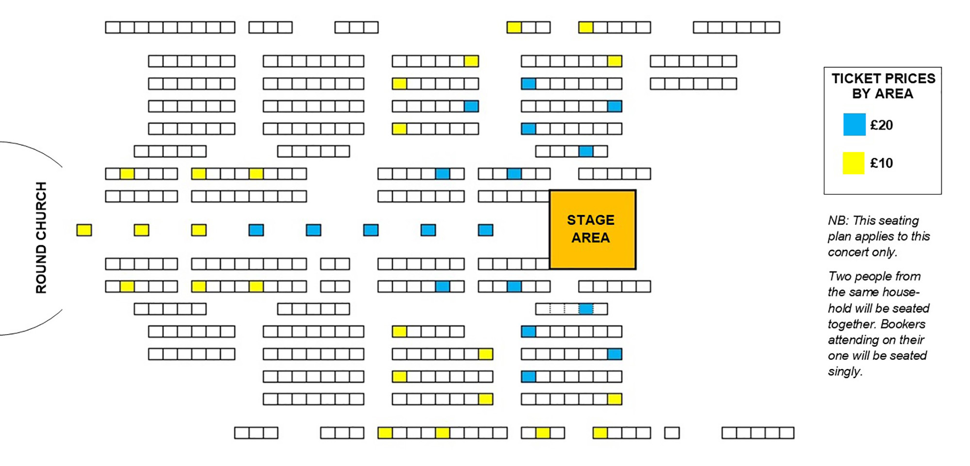 Seating plan A concert curated by John Ashton Thomas
