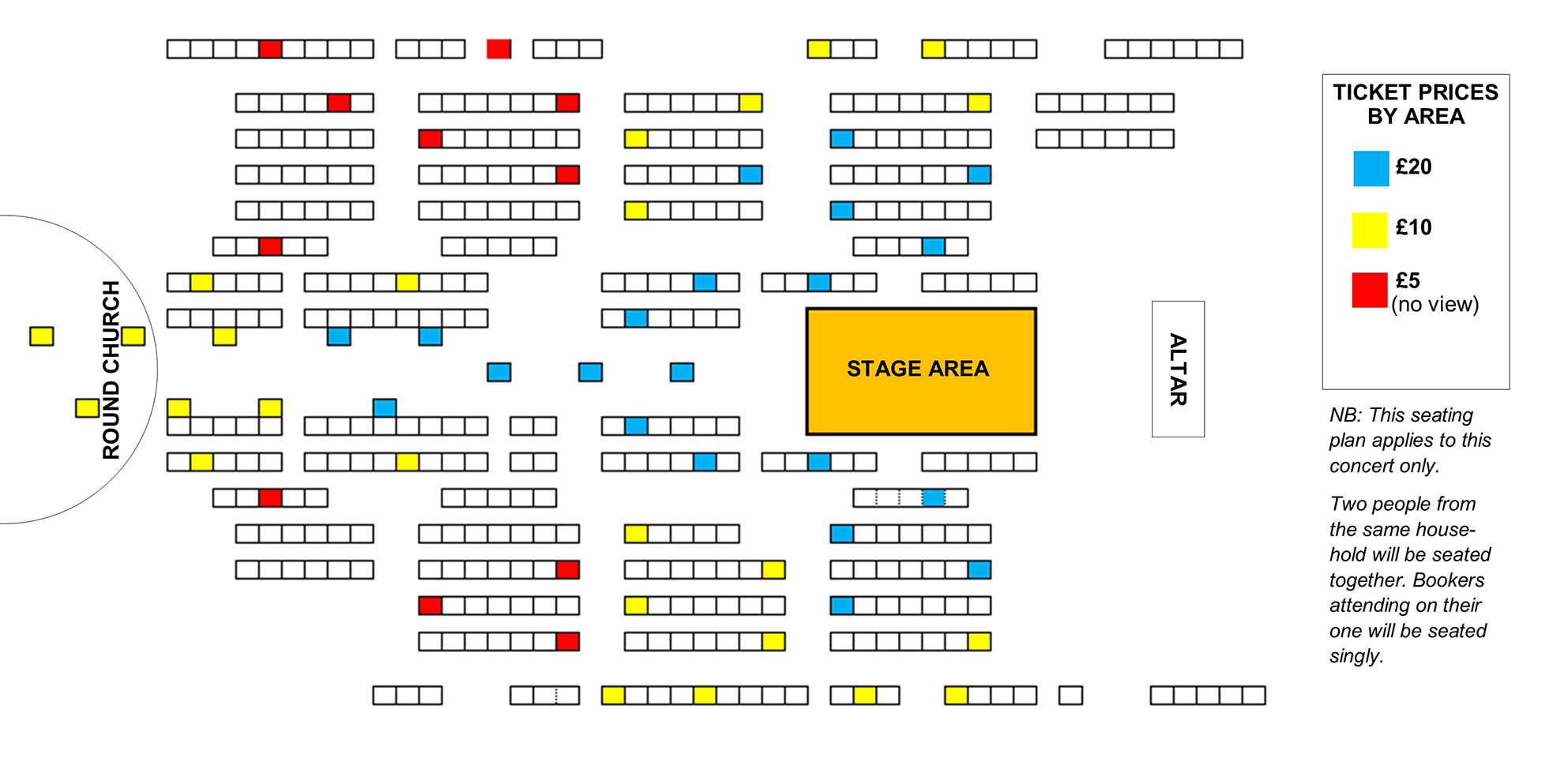 Seating plan A concert curated by John Ashton Thomas - POSTPONED