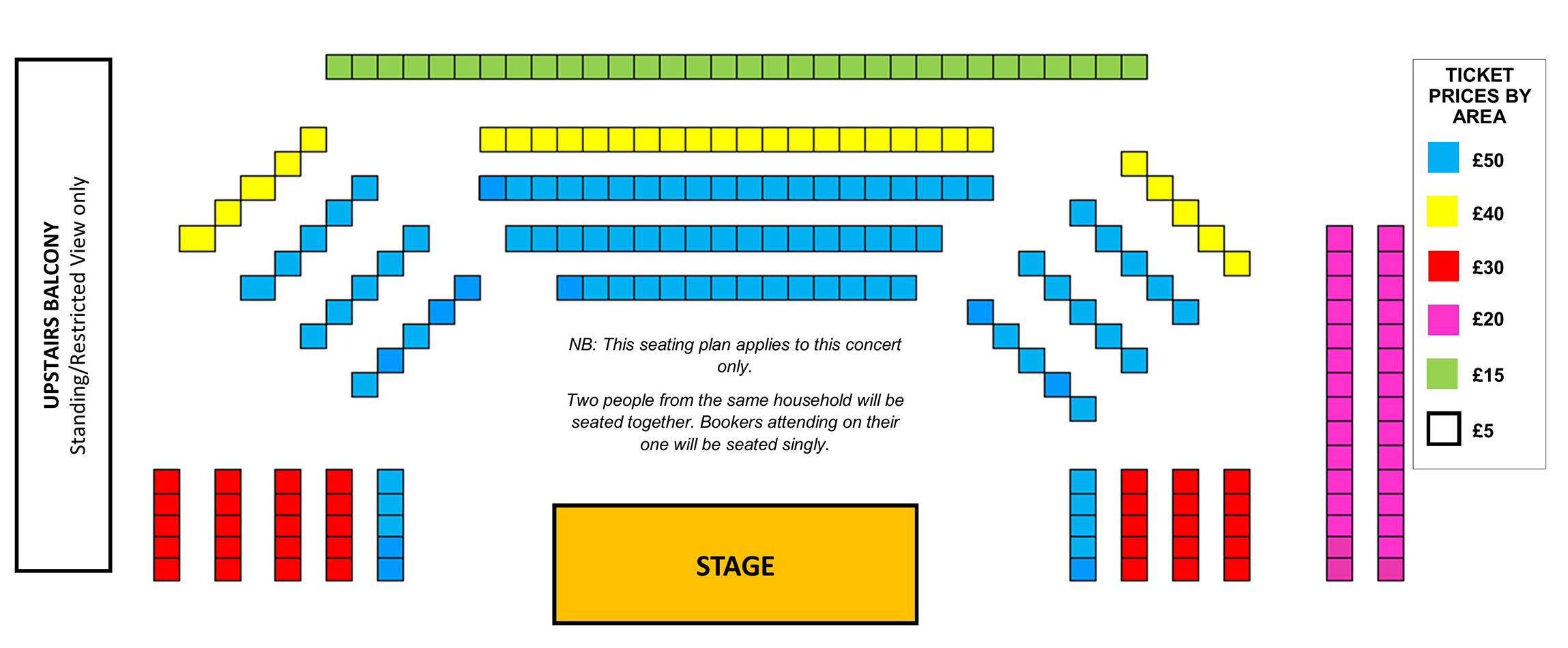 Seating plan Temple Song: Mark Padmore, Roderick Williams and Julius Drake
